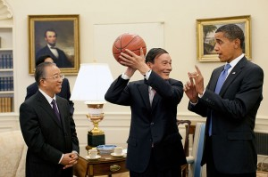 Who's got the ball?  Vice Premier Wang Qishan with Pres. Obama at the Oval Office, July 28, 2009 (White House Photo/Public Domain)