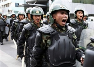 Chinese paramilitary units take over downtown Urumqi - AP photo