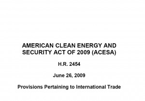 Click on image for a PDF of the Trade Provisions in the Climate Change Bill