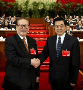 Let's Shake on It - Former PRC President Jiang Zemin and Current PRC President Hu Jintao