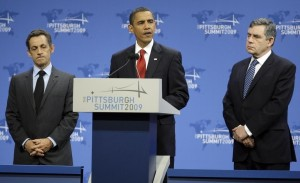 President Obama, with President Nicolas Sarkozy and Prime Minister Gordon Brown on Friday, Sept 25 at the G-20 Summit