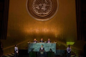 President Barack Obama before the U.N. General Assembly on Tuesday, Sept. 22, 2009