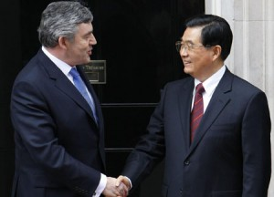British Prime Minister Gordon Brown and Chinese President Hu Jintao