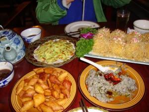 A feast at Liu Zhai Shifu - ma dofu is on the bottom right