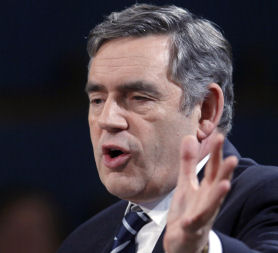 Gordon Brown standing alone?  Where's the rest of the world?