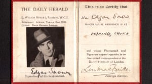 When obtaining press cards were a bit easier: Edgar Snow's press card for Beijing