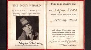 When obtaining press cards were a bit easier: Edgar Snow's press card for Beijing