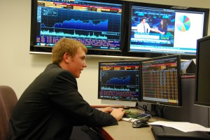 Working at a Bloomberg Terminal