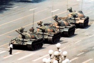 One of the most iconic photos of the 20th Century - one man stands up to a line of tanks