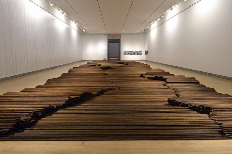 "The gallery with Ai's Sichuan earthqake remembrance art, including ""Straight"""