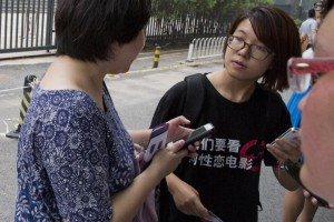Another of the detained, Wei Tingting (right), the director of Ji'ande, an LGBT rights organization based in Beijing
