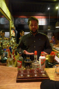Bartender David gives an introduction to a flight of baijiu