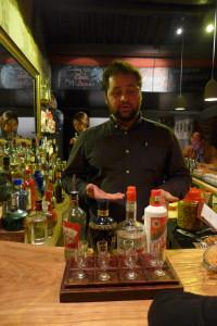 Bartender David gives an introduction to a flight of baijiu