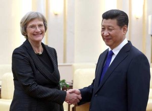 Harvard University President Drew Faust Meets China's President Xi Jinping on a recent trip to China